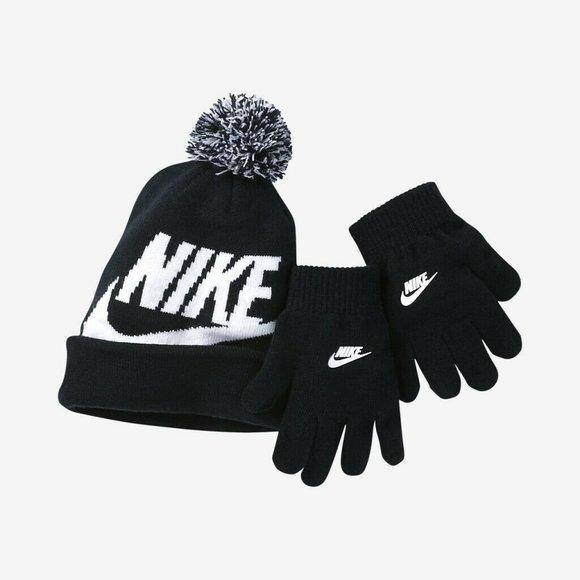 Nike Other - Swoosh Beanie and Glove Set 9A2695-023 Black White